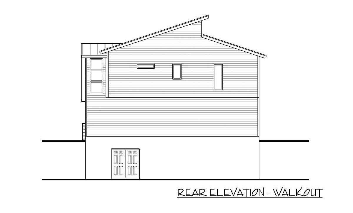Rear elevation - walkout sketch of the 2-bedroom two-story modern carriage home.