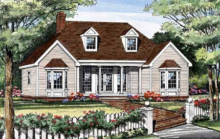 Front perspective sketch of the 3-bedroom single-story Lewisburg ranch.