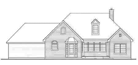 Rear elevation sketch of the 3-bedroom single-story Lewisburg ranch.