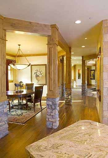 Interior columns surround the formal dining room.