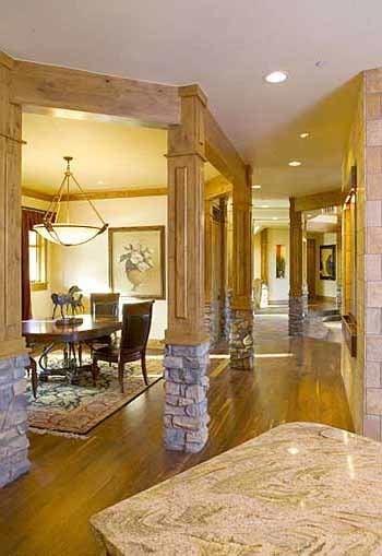 Interior columns surround the formal dining room.