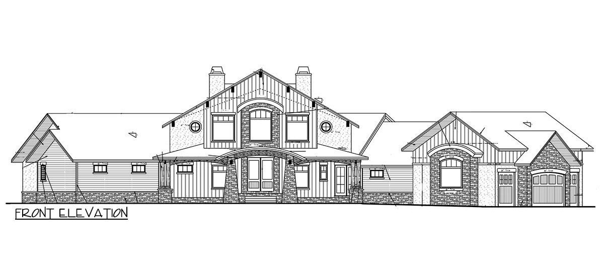 Front elevation sketch of the 3-bedroom single-story mountain home.