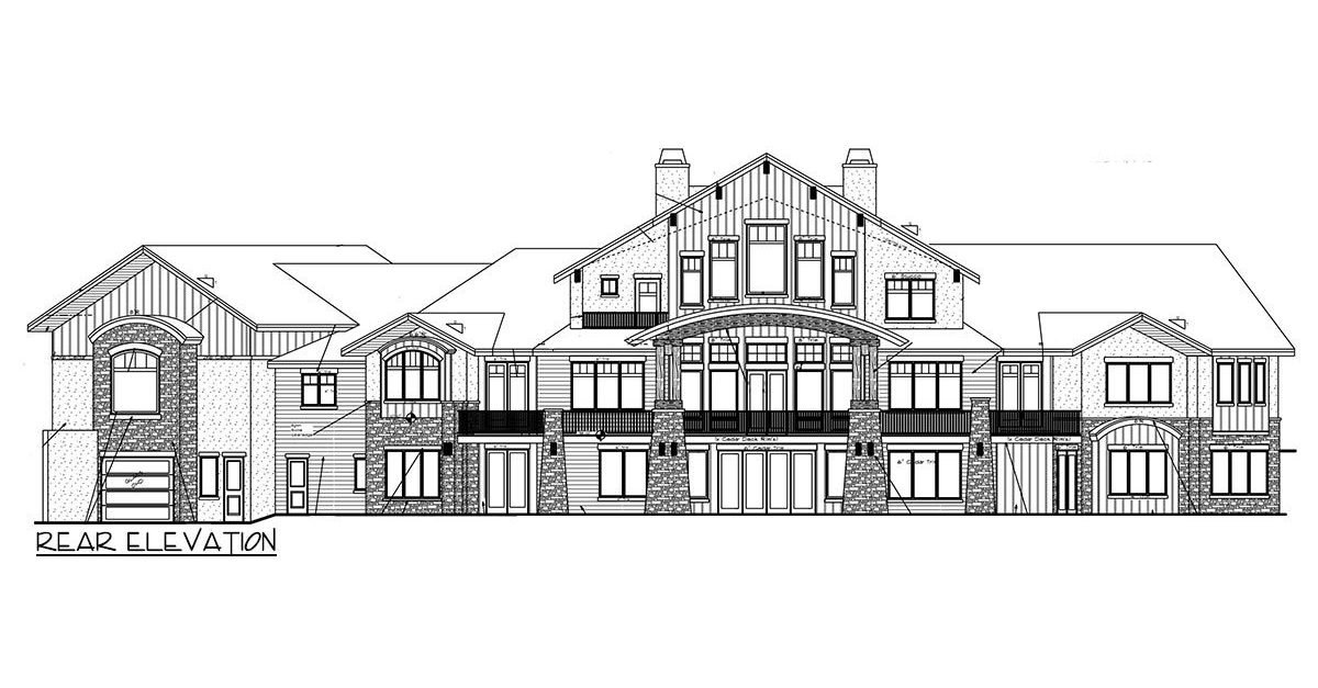 Rear elevation sketch of the 3-bedroom single-story mountain home.