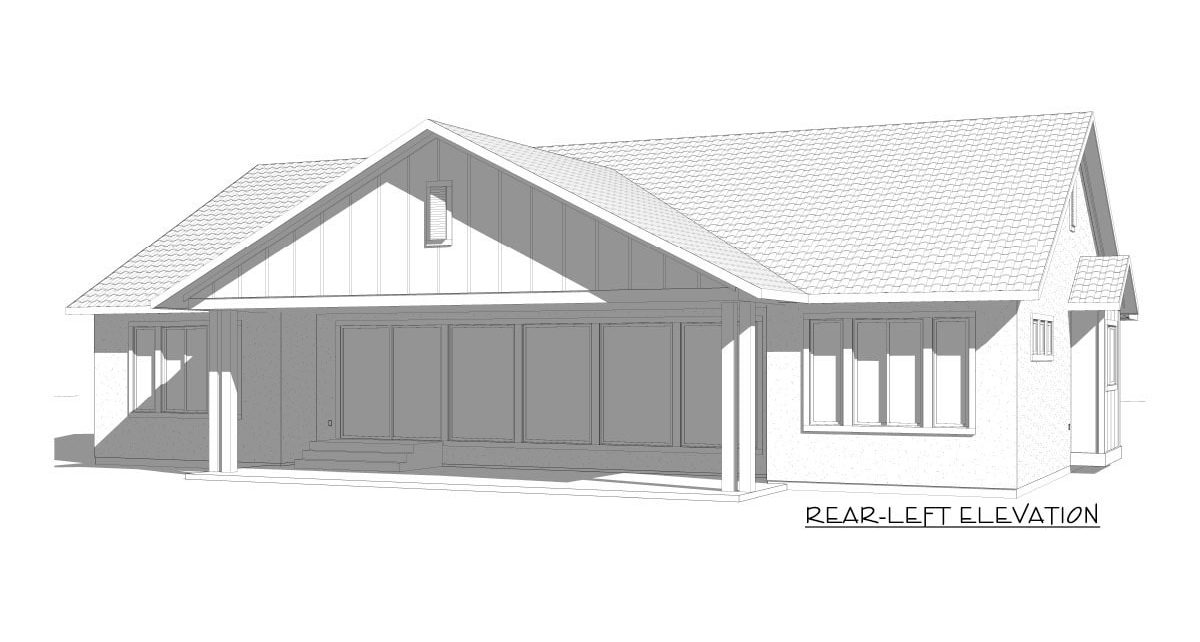 Rear-left elevation sketch of the 5-bedroom single-story New American home.
