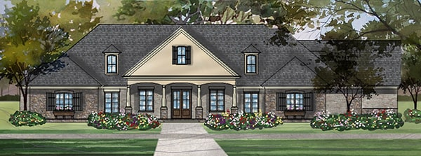 Front perspective sketch of the 3-bedroom single-story Stephens traditional country style home.