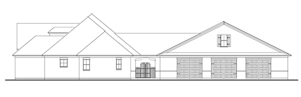 Right elevation sketch of the 3-bedroom single-story Stephens traditional country style home.