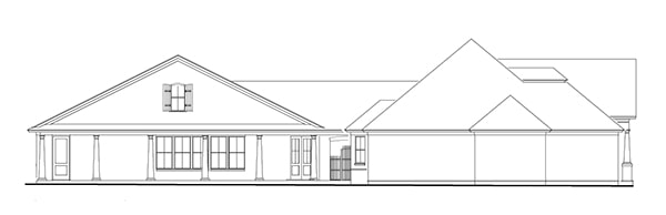 Left elevation sketch of the 3-bedroom single-story Stephens traditional country style home.