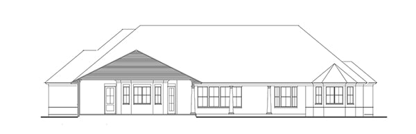 Rear elevation sketch of the 3-bedroom single-story Stephens traditional country style home.