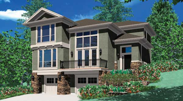 Front rendering of the 3-bedroom two-story Banbury beach home.