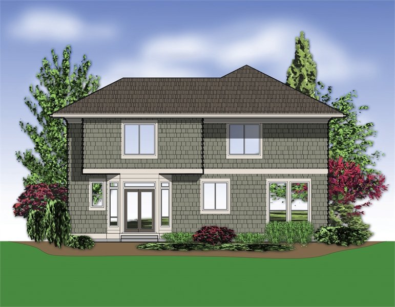 Rear rendering of the 3-bedroom two-story Banbury beach home.