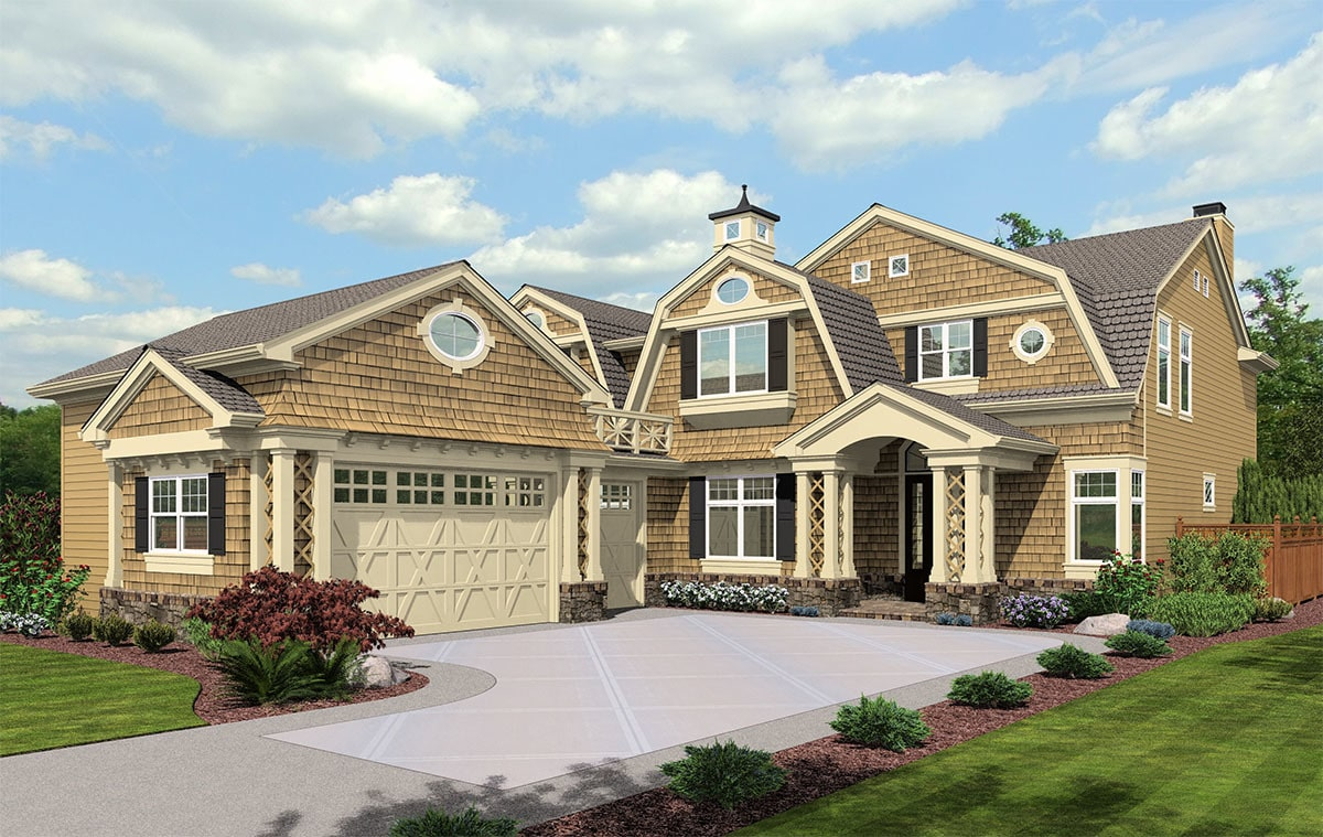 Front rendering of the 3-bedroom two-story cape cod home.