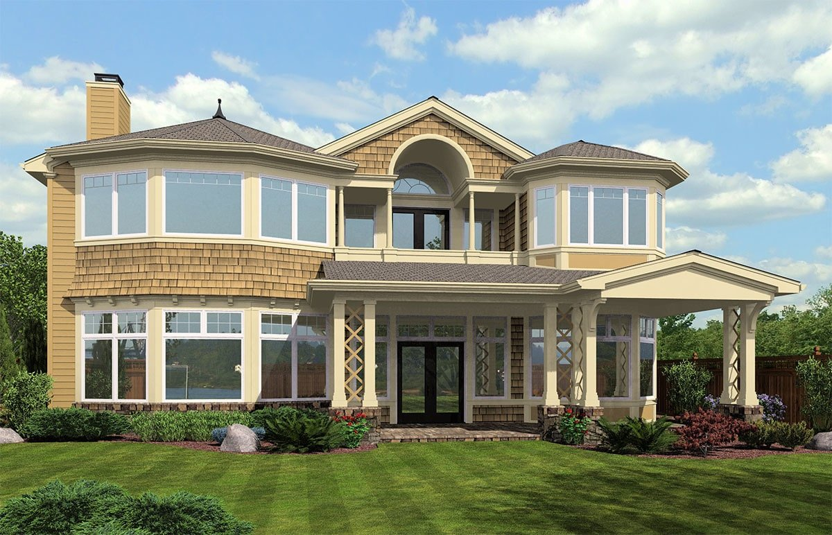 Rear rendering of the 3-bedroom two-story cape cod home.