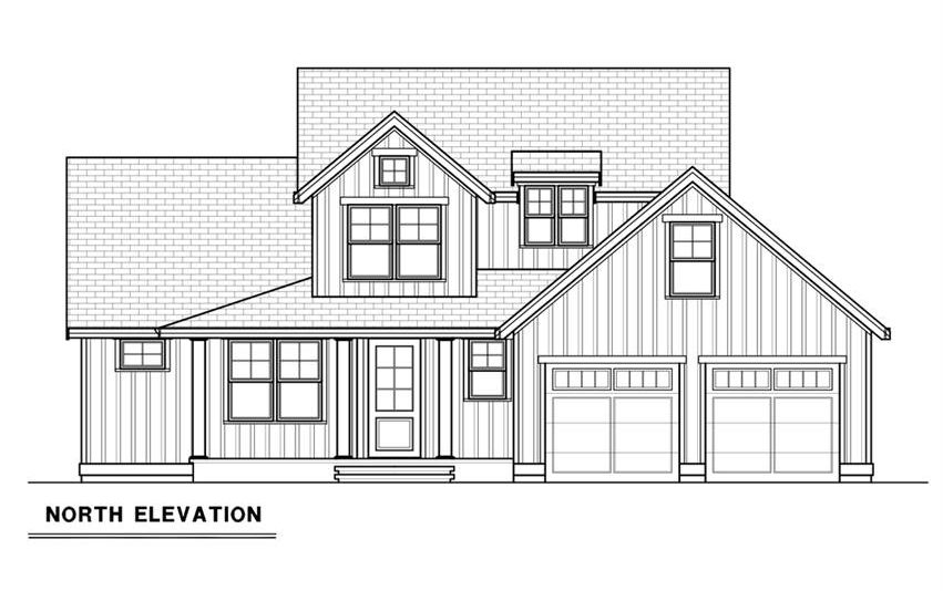 Front elevation sketch of the 3-bedroom single-story contemporary farmhouse.