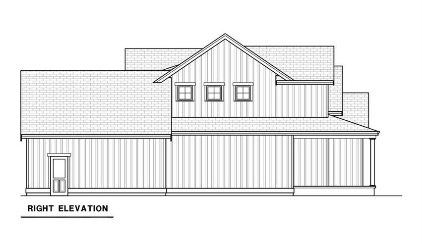 Right elevation sketch of the 3-bedroom single-story contemporary farmhouse.
