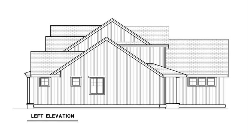 Left elevation sketch of the 3-bedroom single-story contemporary farmhouse.