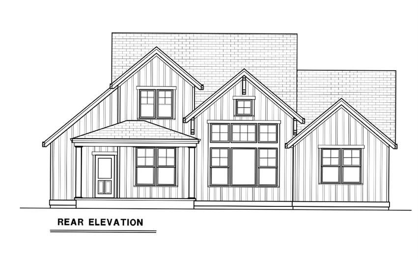 Rear elevation sketch of the 3-bedroom single-story contemporary farmhouse.