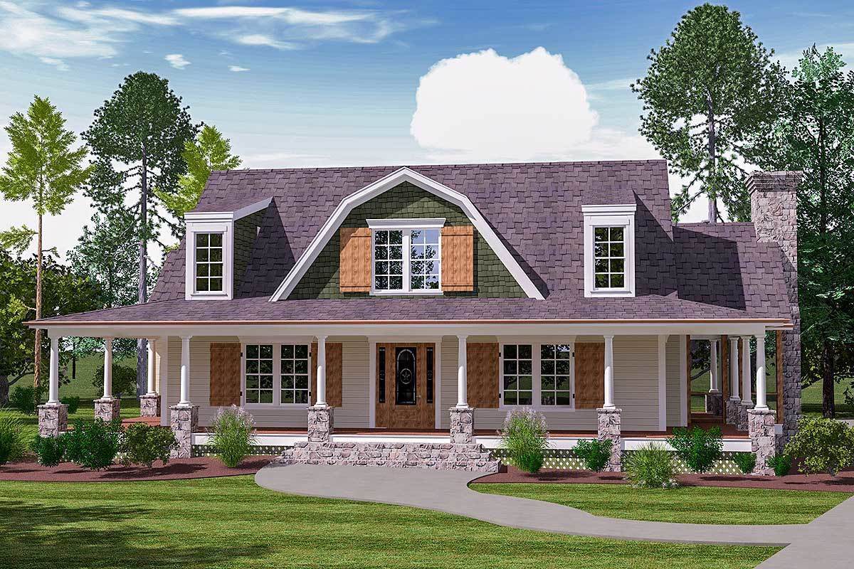 3-Bedroom Two-Story Country Home with Gambrel Gable