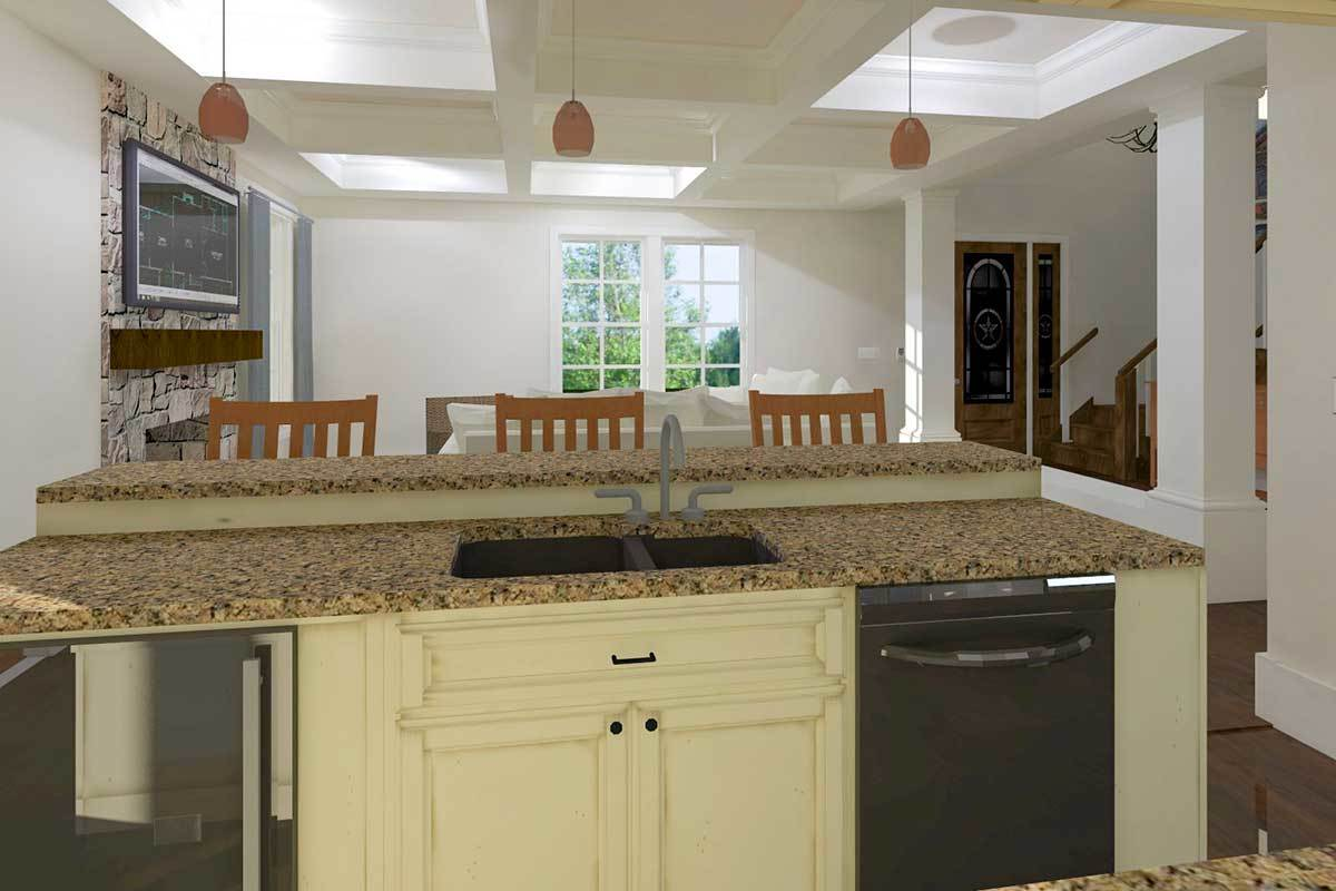 The kitchen showcases a two-tier peninsula fitted with granite countertops, slate dishwasher, and a double bowl sink.