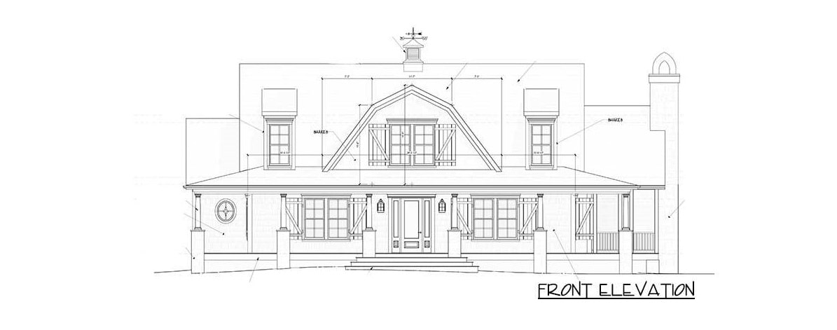 Front elevation sketch of the 3-bedroom two-story country home.
