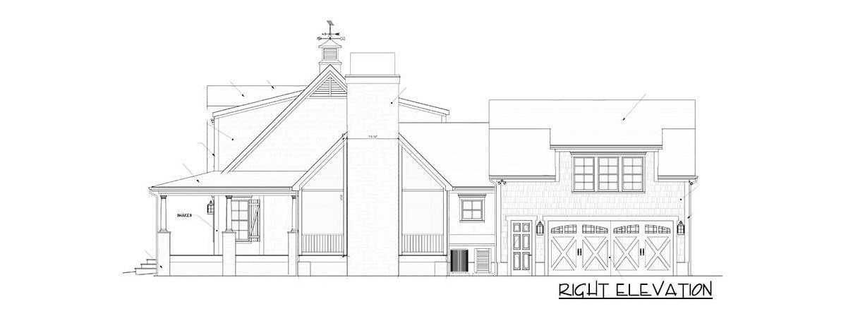 Right elevation sketch of the 3-bedroom two-story country home.