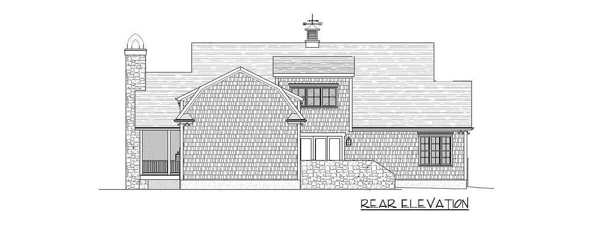 Rear elevation sketch of the 3-bedroom two-story country home.