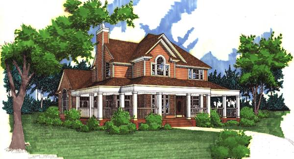 Front perspective sketch of the 3-bedroom two-story country style The Liberty Hill home.