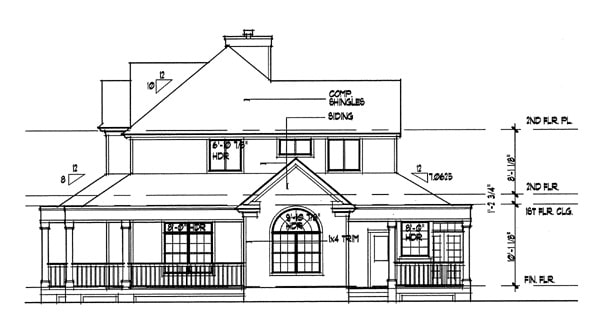 Right elevation sketch of the 3-bedroom two-story country style The Liberty Hill home.