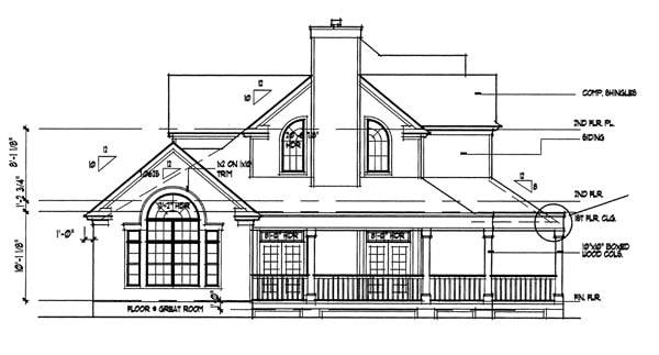 Left elevation sketch of the 3-bedroom two-story country style The Liberty Hill home.