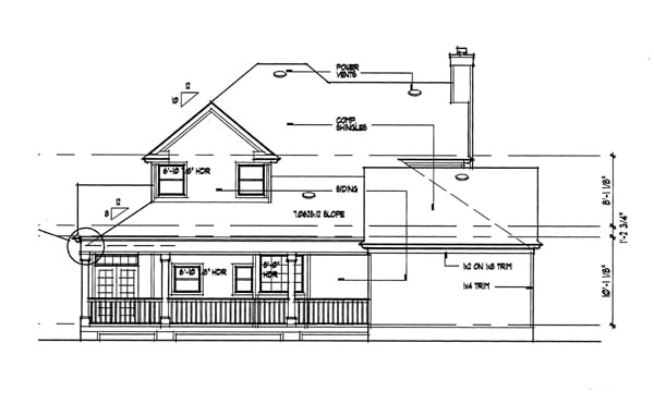 Rear elevation sketch of the 3-bedroom two-story country style The Liberty Hill home.