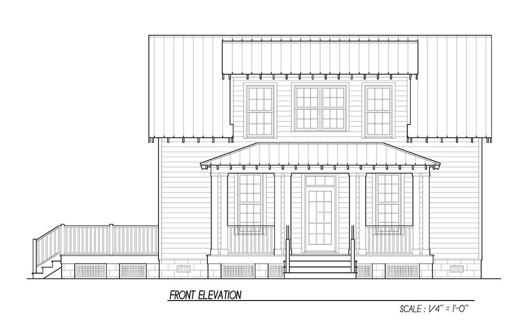 Front elevation sketch of the 3-bedroom two-story Katrina cottage.