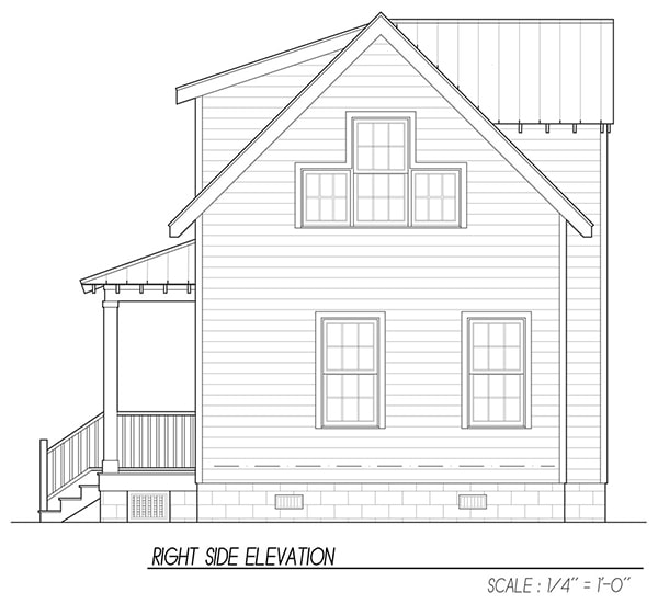 Right elevation sketch of the 3-bedroom two-story Katrina cottage.