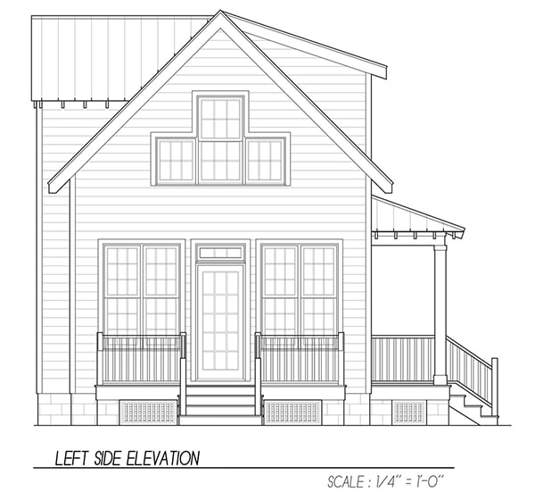 Left elevation sketch of the 3-bedroom two-story Katrina cottage.