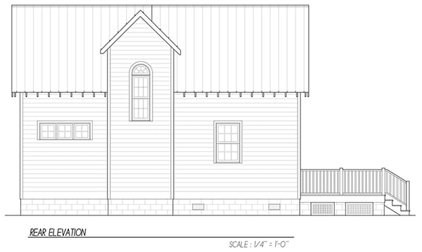 Rear elevation sketch of the 3-bedroom two-story Katrina cottage.