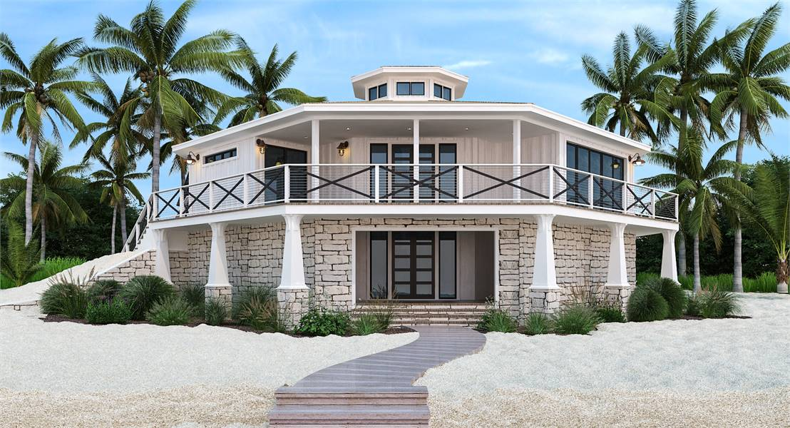 3-Bedroom Two-Story Octagon Modern Style Home with Full Wrap Around Porch