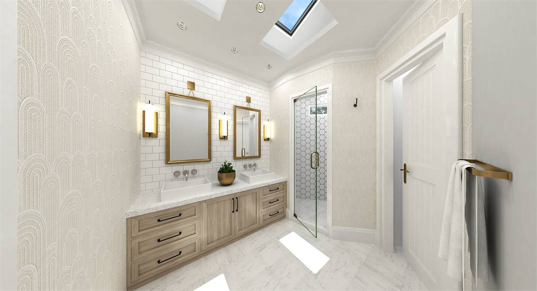 The primary bathroom is equipped with a walk-in shower, dual vessel sink vanity, and skylights.