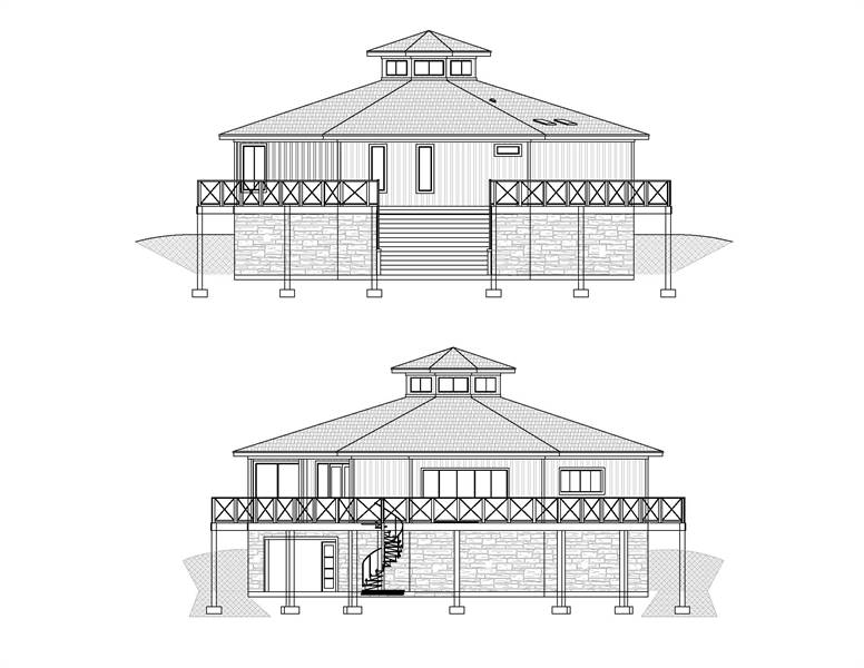 Front and rear elevation sketch of the 3-bedroom two-story Octagon modern style home.