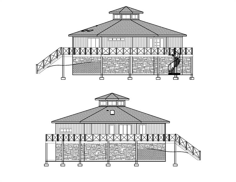 Right and left elevation sketch of the 3-bedroom two-story Octagon modern style home.