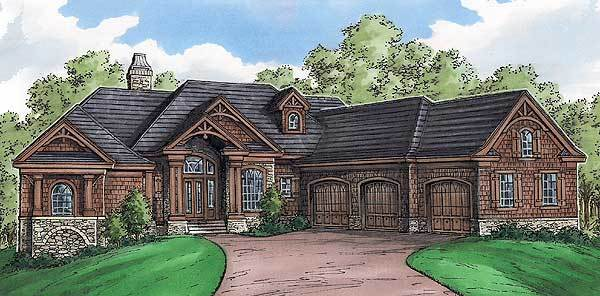 Perspective sketch of the 4-bedroom single-story mountain home.