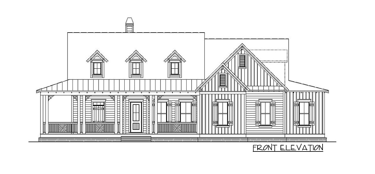 Front elevation sketch of the 4-bedroom two-story country home.