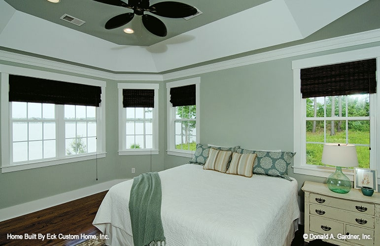 Primary bedroom with tray ceiling, gray walls, and a cozy bed paired with a light wood nightstand.