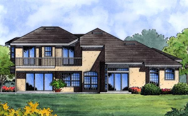Rear rendering of the 4-bedroom two-story Lago Vista European home.