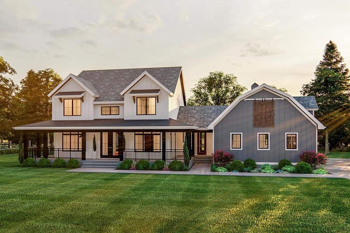4-Bedroom Two-Story Modern Farmhouse with Side-Load Barn-Style Garage and a Wrap Around Porch