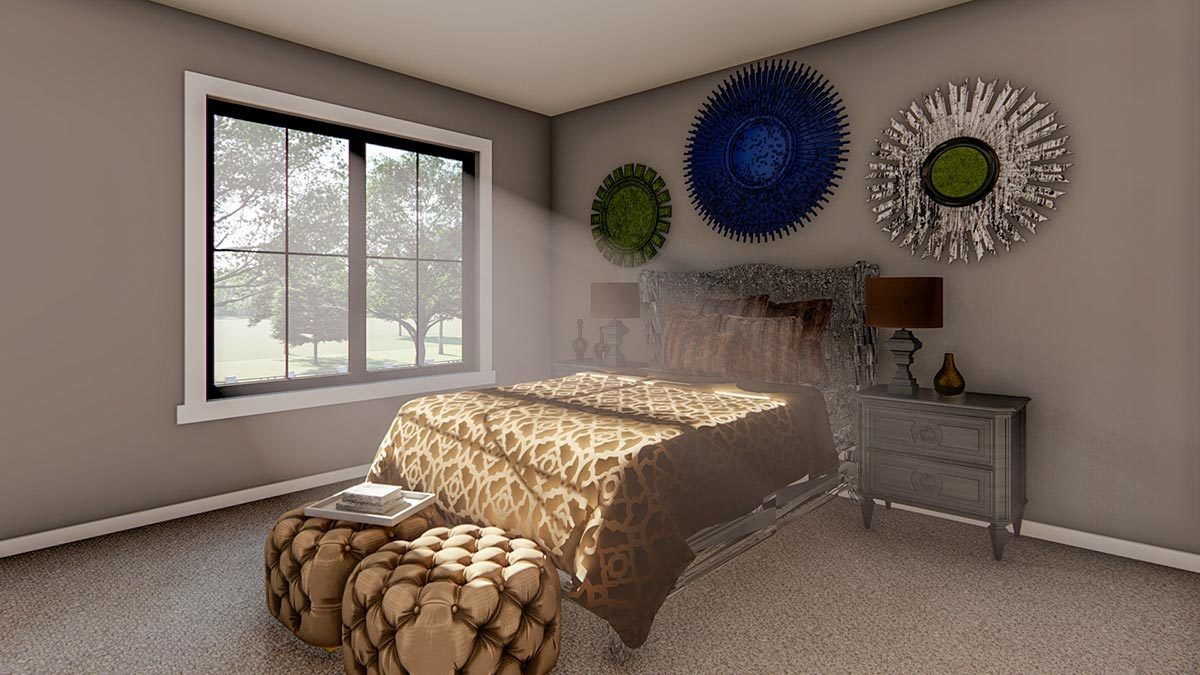 Another bedroom with gray walls, carpet flooring, and a cozy wooden bed complemented with tufted footstools, matching nightstands, and round wall arts.