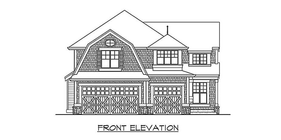 Front elevation sketch of the 4-bedroom two-story Northwest home.