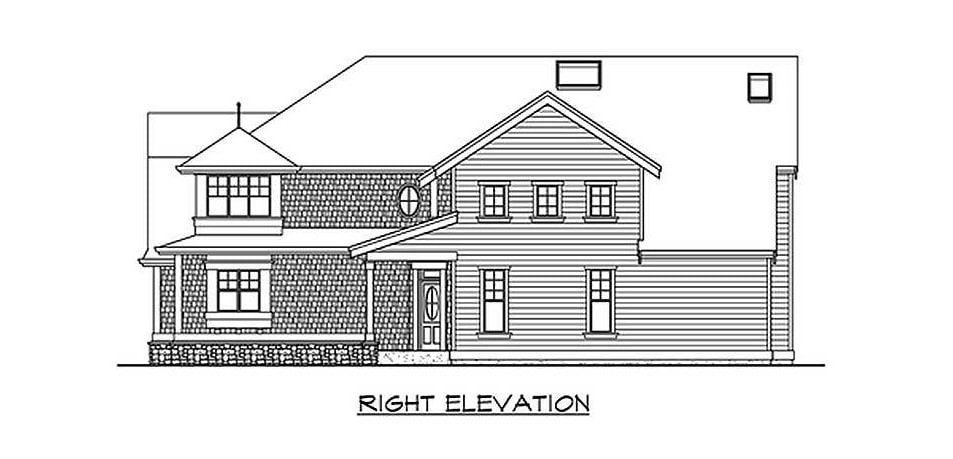 Right elevation sketch of the 4-bedroom two-story Northwest home.