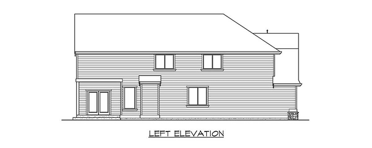 Left elevation sketch of the 4-bedroom two-story Northwest home.
