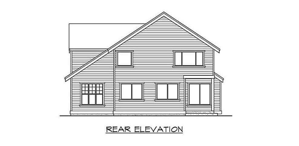 Rear elevation sketch of the 4-bedroom two-story Northwest home.