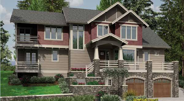 Front rendering of the 4-bedroom two-story Stonington craftsman home.