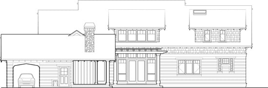 Rear elevation sketch of the 4-bedroom two-story Stonington craftsman home.