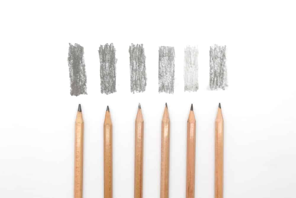 4H pencils with their respective shades.